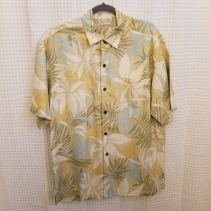 Tommy Bahama Silk Green Cream Tropical Shirt Sz L